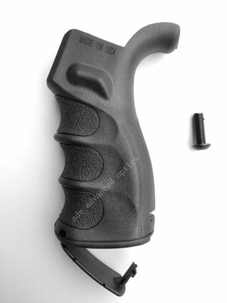 MADE IN USA! AR15 Ergonomic Pistol Rear Grip w/Finger Grooves Storage