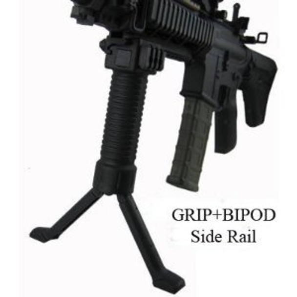 ForeGrip 3in1 Grip+Steel Inserted Leg Bipod+Side Picatinny Rail