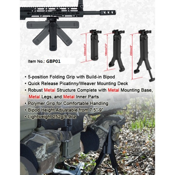 """Ade Advanced Optics Folding 5 Position Grip BIPOD 7.5""""-9"""" Adjustable Height FOREGRIP with QD mount"""