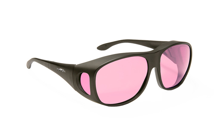 Haven Merdian FL-41 Rose Fit over sunglasses designed to help those with light sensitivity due to migraines, traumatic brain injury and other eye conditions. Light Rose tint.