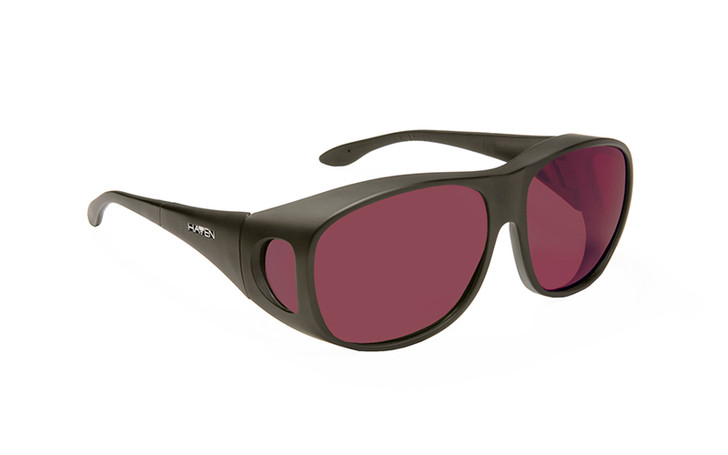 Haven Merdian FL-41 Dark Rose Fit over sunglasses designed to help those with light sensitivity due to migraines, traumatic brain injury and other eye conditions. Dark Rose tint.