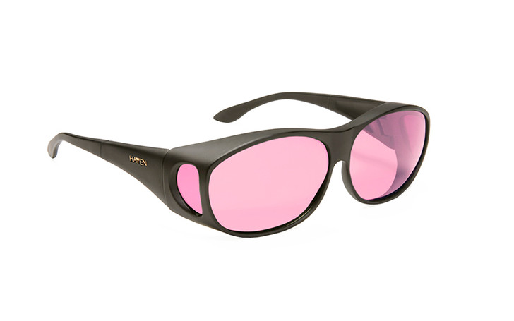 Haven Summerwood FL-41 Light Rose Fit over sunglasses designed to help those with light sensitivity due to migraines, traumatic brain injury and other eye conditions. Light Rose tint.