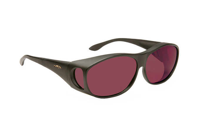Haven Summerwood FL-41 Dark Rose Fit over sunglasses designed to help those with light sensitivity due to migraines, traumatic brain injury and other eye conditions. Dark Rose tint.