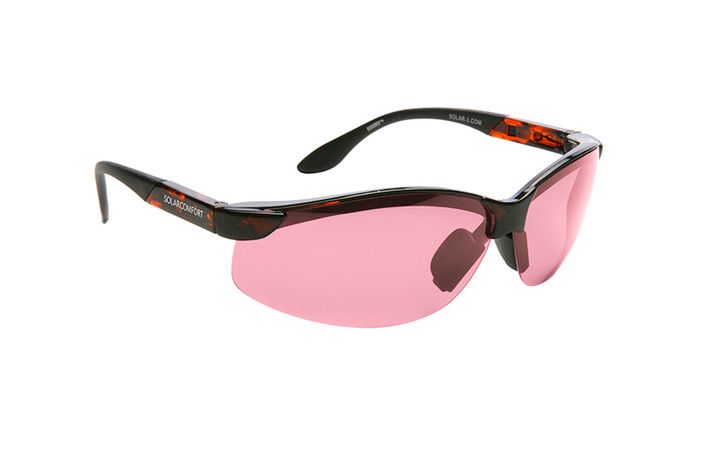 Solar Comfort FL-41 Light Rose Fit over tortoise sunglasses designed to help those with light sensitivity due to migraines, traumatic brain injury and other eye conditions. Light Rose tint.
