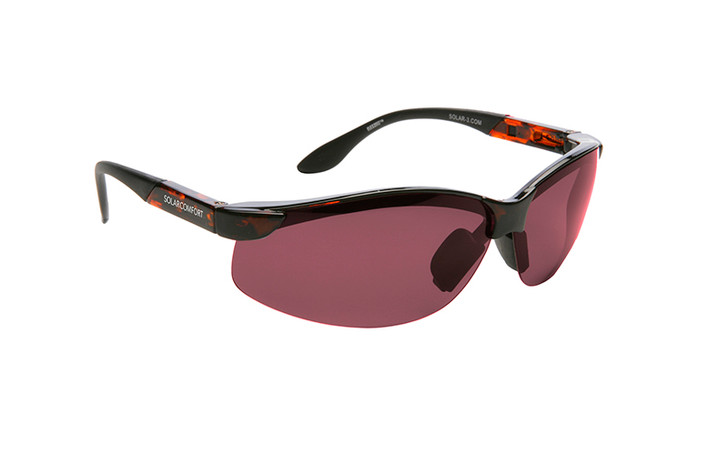 Solar Comfort FL-41 Dark Rose Fit over tortoise sunglasses designed to help those with light sensitivity due to migraines, traumatic brain injury and other eye conditions. Dark Rose tint.
