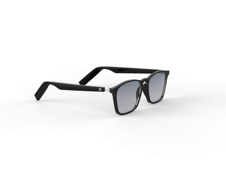 Lucyd Lyte Darkside Wayfarer Bluetooth Audio Sunglasses with UV 400 polarized sunglasses lenses. Black  face with black temples. Attractive lightweight and comfortable frame.