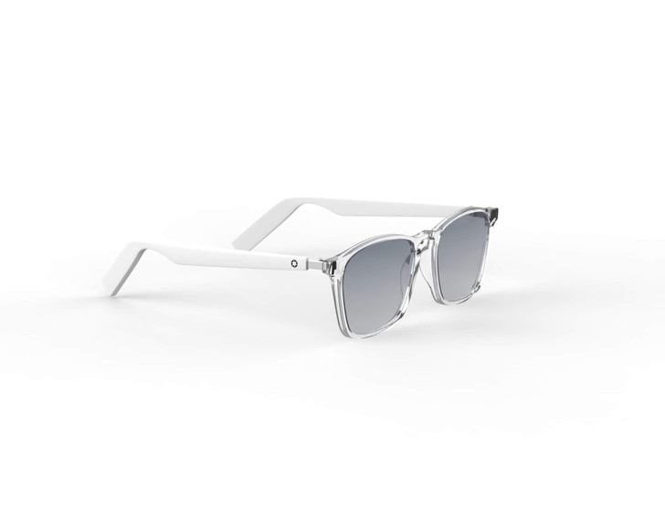 Lucyd Lyte Lytening Wayfarer Bluetooth Audio Sunglasses with UV 400 polarized sunglasses lenses. Clear face with white temples. Attractive lightweight and comfortable frame.
