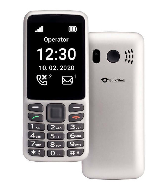 BlindShell Classic Lite metallic silver cell phone with tactile key pad. Works in the USA with T-Mobile.