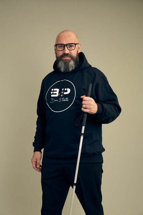 The Blind Poet Icon Logo with Signature, Heather Navy Champion 9 oz. Double Dry Eco Pullover Hoody