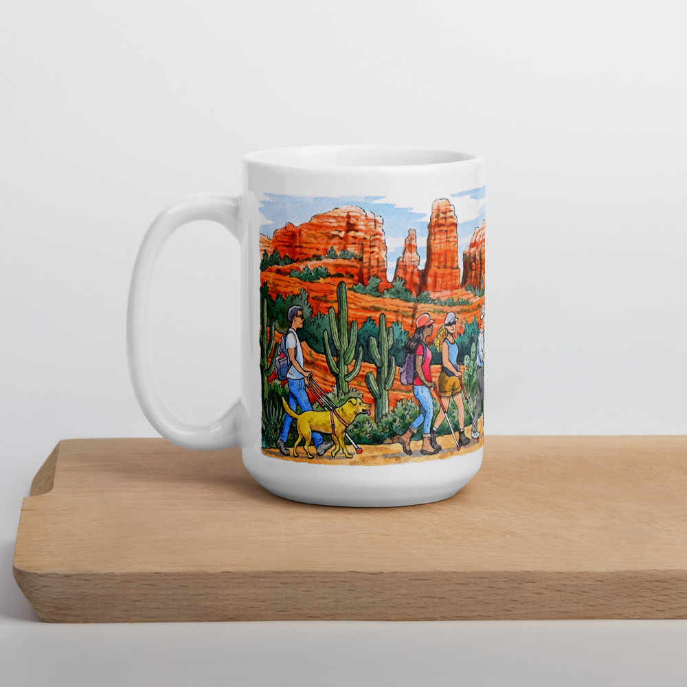 Image of a coffee mug featuring one of The Low Vision Shop custom illustrations of Sedona Dave