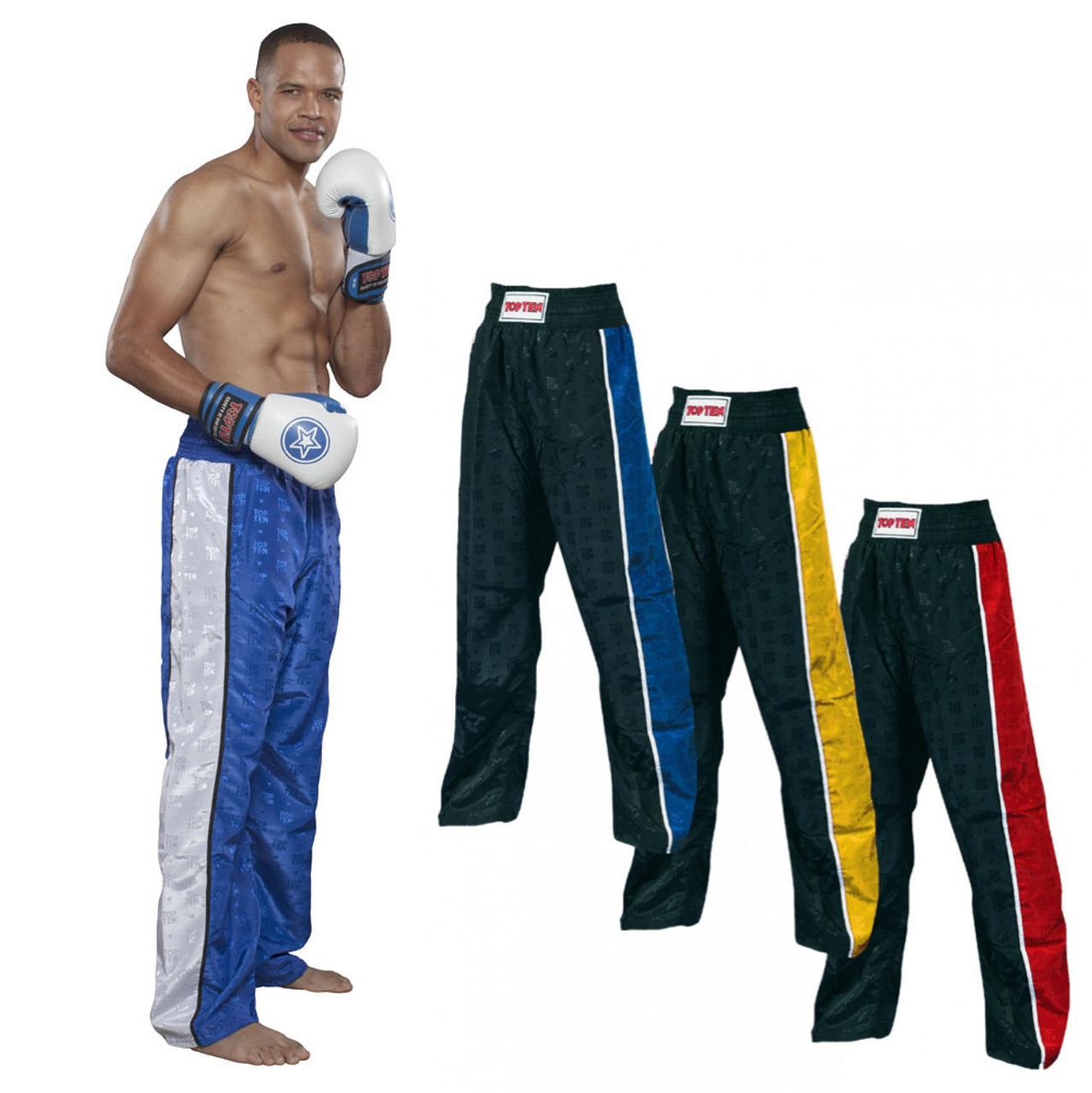 White Kids Sale Blitz Adult Kickboxing Pants Poly Cotton Trousers Black Red