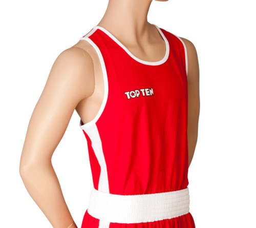 """TOP TEN Boxing Shirt """"AIBA"""" Red (1929-4)"""