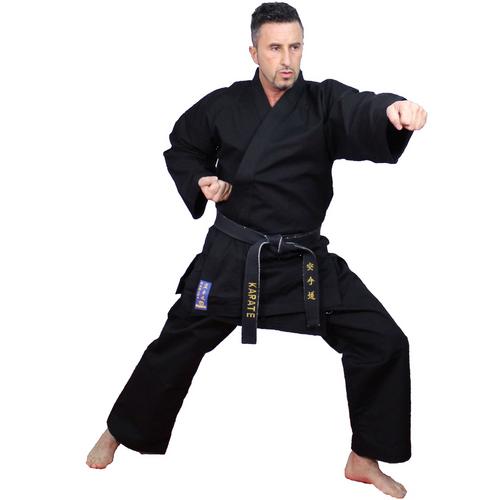 """Kamiza"" Karate Uniform 12oz - BLACK - Adult 160cm to 200cm - (024-9)"