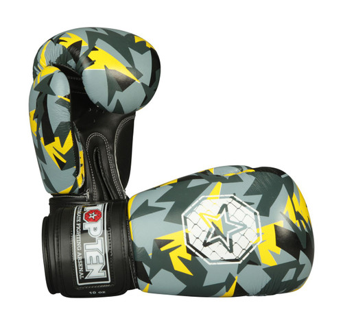 "TOP TEN Boxing Gloves ""Jungle"" Black/Yellow (2367-92)"