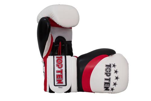 "TOP TEN Boxing Gloves ""Stripe"" White/Red/Black 10oz & 12oz (2273-14)"