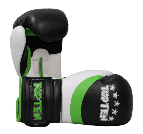 "TOP TEN Boxing Gloves ""Stripe"" Black/Green - 8oz, 10oz & 12oz (2273-95)"