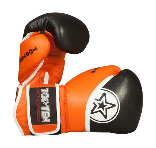 """TOP TEN Thai Boxing Gloves """"King Style"""" Black/Orange 10/12/16oz (20192-93)"""