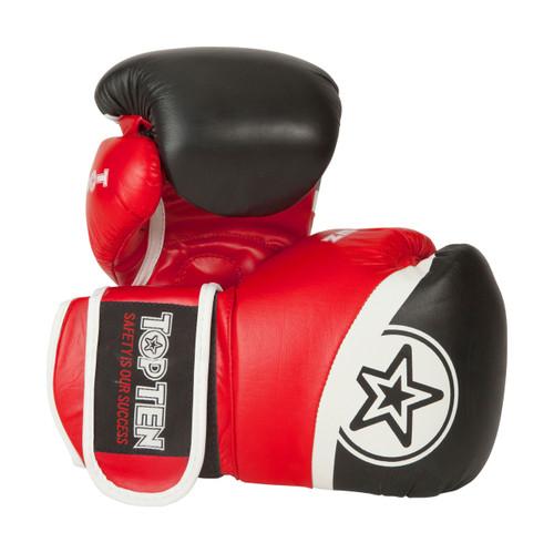 "TOP TEN Thai Boxing Gloves ""King Style"" Black/Red 10/12/16oz (20192-94)"