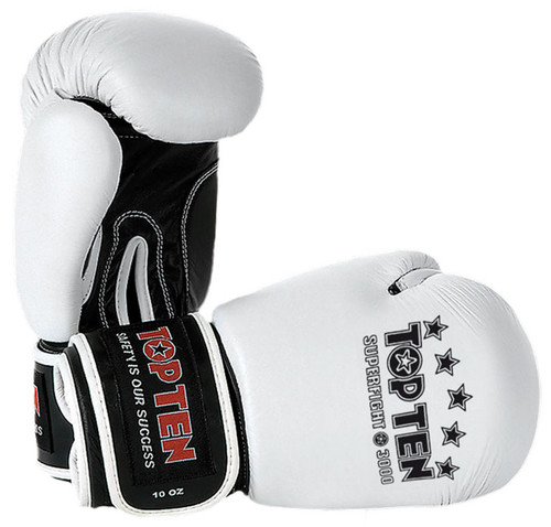TOP TEN Superfight 3000 Boxing Gloves White 10oz