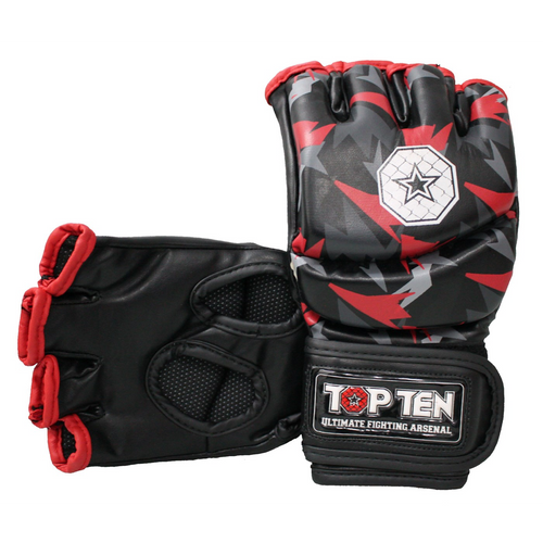 """TOP TEN MMA Ultimate Fight Gloves """"Jungle"""" Black/Red"""
