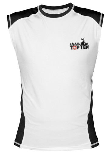 TOP TEN MMA Sleeveless Rash Guard White/Black (1414-1)