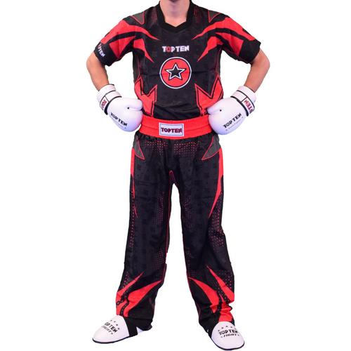 "TOP TEN Kickboxing Uniform ""FUTURE"" - Black/Red CHILD"