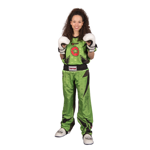 "TOP TEN Kickboxing Uniform ""FUTURE"" - Green/Black CHILD"