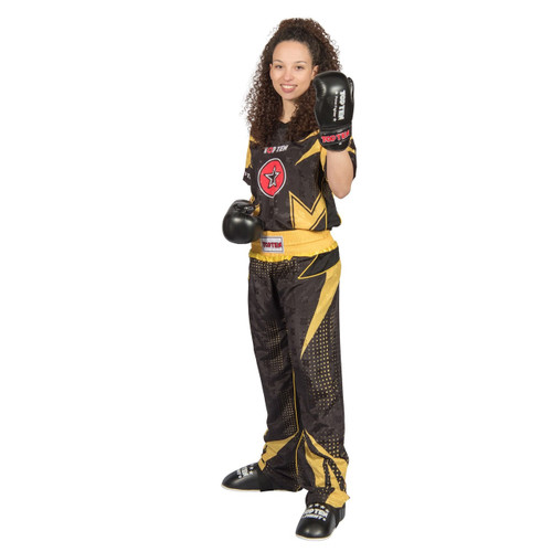 "TOP TEN Kickboxing Uniform ""FUTURE"" - Black/Yellow ADULT"