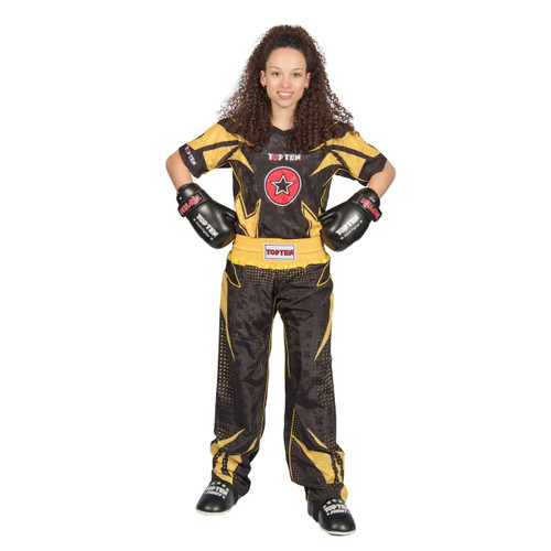 "TOP TEN Kickboxing Uniform ""FUTURE"" - Black/Yellow CHILD"