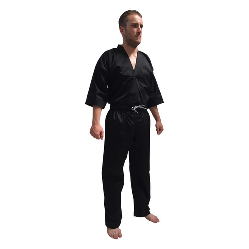 "V-NECK Kickboxing Uniform ""3/4 Sleeve"" Black - CHILD 120cm/130cm"