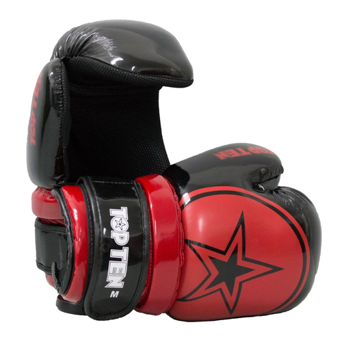 "TOP TEN Pointfighter Gloves ""BLOCK"" - Black/Red Star"