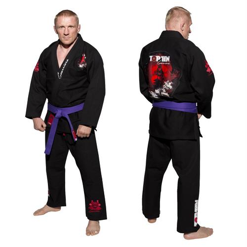 """Brazilian Jiu-Jitsu uniform TOP TEN """"Guerriero"""" BLACK (15122-9)"""