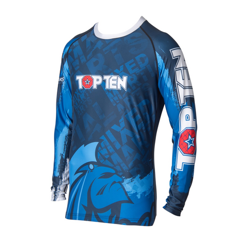 "TOP TEN Rash Guard ""Mohicans"" Long Sleeve Blue"
