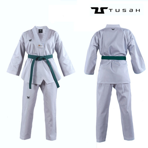 Tusah White Collar WTF Approved Uniform - Size 120cm (TTPWH)