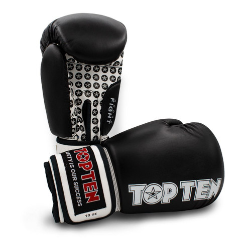 TOP TEN Boxing Gloves FIGHT BLACK in 4 weights