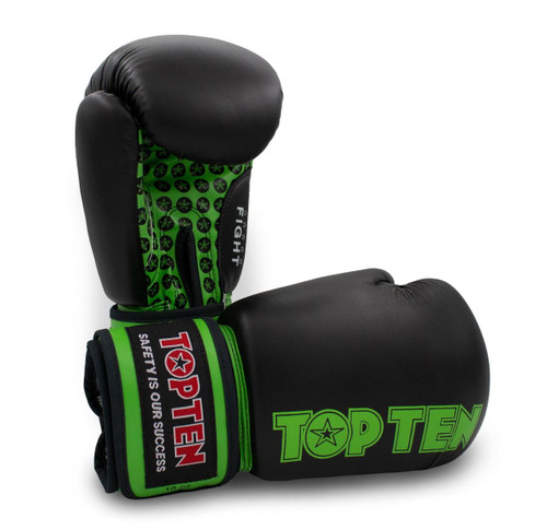 TOP TEN Boxing Gloves FIGHT Black/Green 10oz