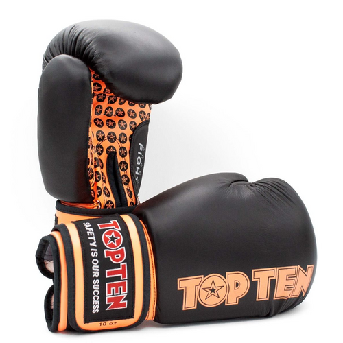 TOP TEN Boxing Gloves FIGHT Black/Orange 10oz
