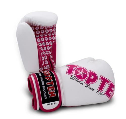 Top Ten Women's Boxing Gloves White/Pink 10oz (2242-1710
