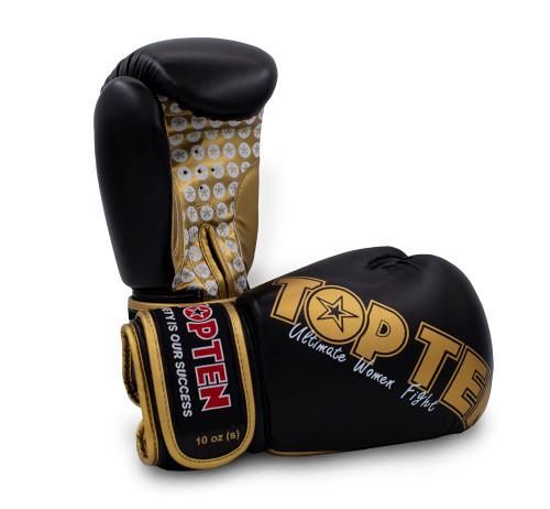 Top Ten Women's Boxing Gloves Black/Gold 10oz (2242-9210)