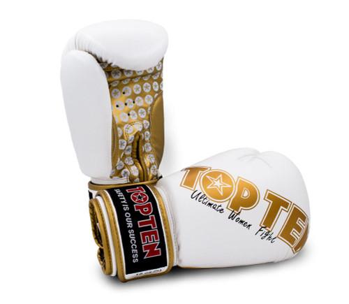 Top Ten Women's Boxing Gloves White/Gold 10oz (2242-1210)