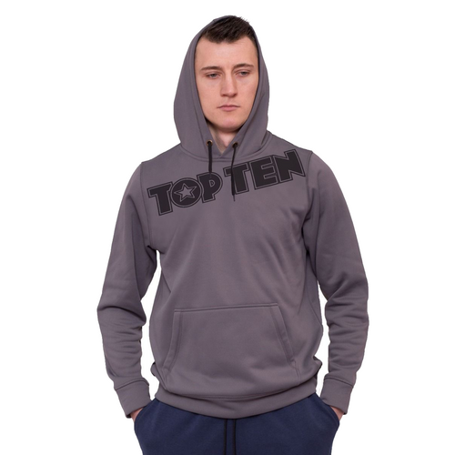 Hoodie with TOP TEN Print - Granite