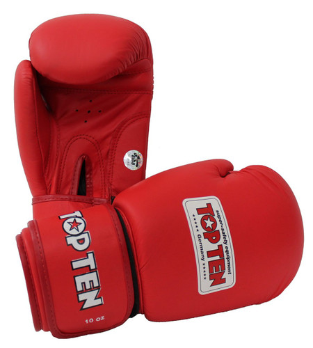 """TOP TEN """"AIBA"""" Boxing Gloves Red 10/12oz (2010-4)"""