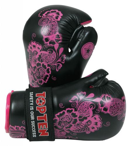 """TOP TEN Pointfighter Gloves """"Flowers"""" Black/Pink (2172-97)"""