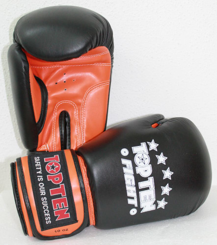 "TOP TEN Boxing Gloves ""Fight"" Neon Orange 10oz (2066-93)"