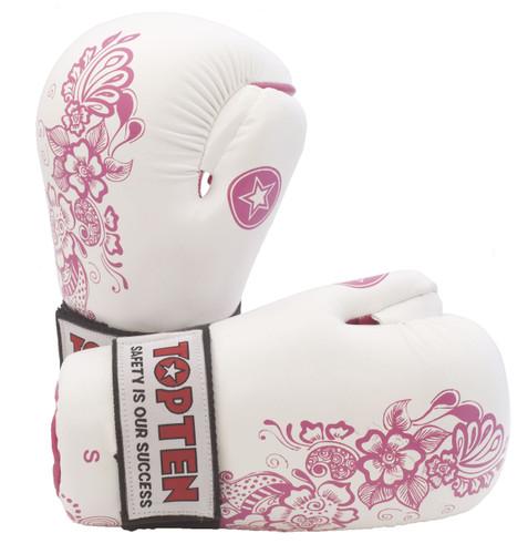 "TOP TEN Pointfighter Gloves ""Flowers"" White/Pink (2172-17)"