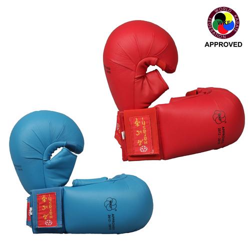 "HAYASHI Karate Gloves TSUKI with thumb ""WKF Appr."" Blue/Red (238-46)"