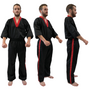 "V-NECK Kickboxing Uniform ""3/4 Sleeve"" Black/Red - ADULT"