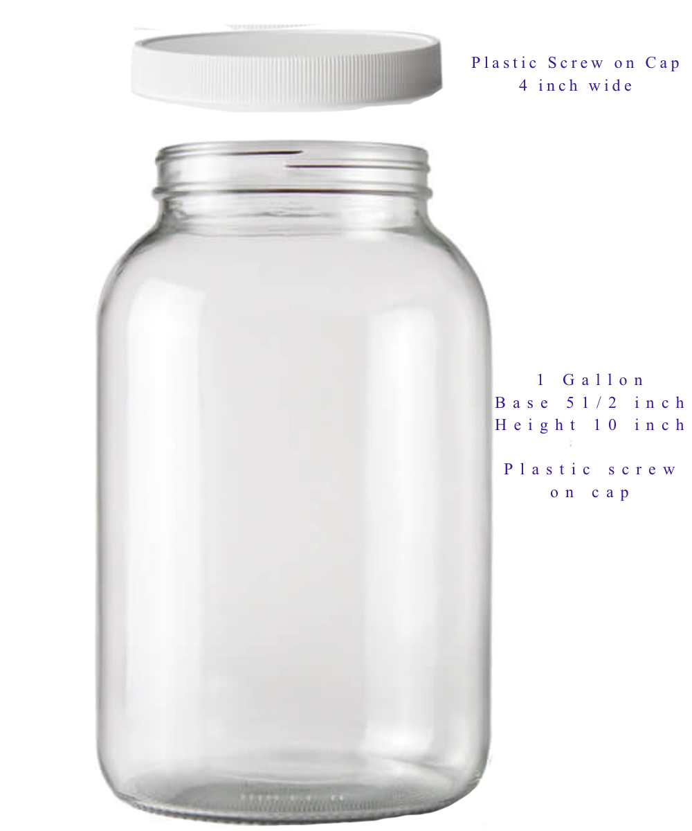 4 One Gallon Jars With Plastic Lids Free Shipping
