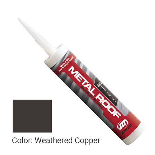 Sealant Color: Weathered Copper - Weather-Tite Metal Roof Sealant comes in a variety of colors and goes on easily. If touch-ups are necessary, it may be painted (excluding translucent) with a water-based paint anytime after one hour of application.