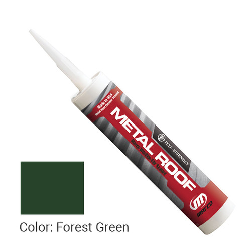 Sealant Color: Forest Green - Weather-Tite Metal Roof Sealant comes in a variety of colors and goes on easily. If touch-ups are necessary, it may be painted (excluding translucent) with a water-based paint anytime after one hour of application.